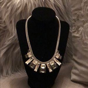 Jewelry - Silver, jeweled statement necklace.